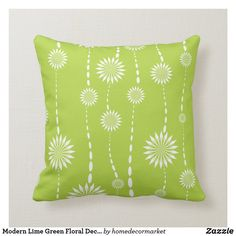 Shop Modern Lime Green Floral Decorative Throw Pillow created by homedecormarket. Lime Green Bedrooms, Green Bedroom Walls, Lime Green Cushions, Green Pillows, Lime Green Decor, Green Cushion Covers, Decorative Cushions, Custom Pillows, Colorful Decor