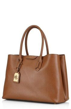 This luxurious leather tote is perfect for the corporate career girl!   bowsgg Ralph Lauren 41ba875ad1e48