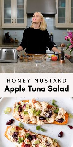 Protein-packed honey mustard apple tuna salad that's easy to make and delicious on apple slices or sweet potato toast. Protein-packed honey mustard apple tuna salad that's easy to make and delicious on apple slices or sweet potato toast. Healthy Foods To Make, Healthy Diet Recipes, Healthy Eating, Healthy Cooking, Best Tuna Salad Recipe, Salad Recipes, Healthy Tuna Salad, Mustard Recipe, Sweet Potato Toast