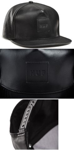 def9b8f5e0b HUF - BLACK LEATHER SNAPBACK    BLACK Leather Snapback