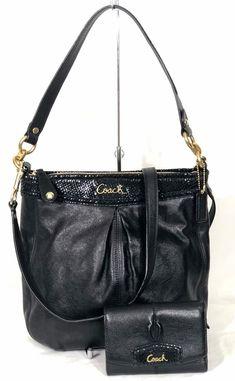 1d40d920a87a Coach Ashley Black Leather Hippie and Wallet Set Exotic Black Crossbody  F20114