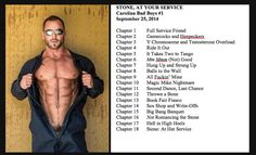 http://www.amazon.com/dp/B00MRPKWAY  For your viewing pleasure, your nom-nom-noms, your drooling, squeaking, meeping…and snicker-snorts…  STONE chapter titles I had a lot of fun coming up with. And so hot Josh Stone.   It happens tomorrow but Kindle already told me the preorders have been…um…filled. alpha male, bad boys, mechanic, contemporary romance, sexy man