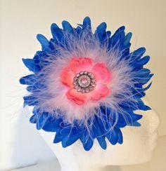 Fancy Girl Boutique Royal Blue and  Light Pink Marabou Rhinestone Headband. Handmade  by FancyGirlBoutiqueNYC, $14.99