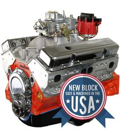 BluePrint Engines 454 c. small block GM style proseries stroker crate engine - dressed longblock with carburetor. Chevy Crate Engines, Blueprint Engines, 454 Big Block, Chevy Motors, Ignition Timing, Crate Motors, Boat Engine, Chrysler Cars, Chevy Trucks