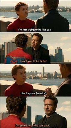 him and Tony Stark is absolutely nothing less than father and son relation. Here we bring you the funniest Tony Stark and Peter Parker memes. Avengers Humor, Marvel Avengers, Marvel Jokes, Films Marvel, Funny Marvel Memes, Captain Marvel, Marvel Heroes, Funny Superhero Memes, Funny Comics