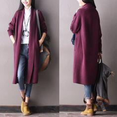 Korean Style Maxi Long Casual Loose Wool Cardigan Sweater Coat W0104A