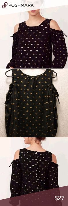 LC Lauren Conrad Bumble Bee Cold Sholder Top Heavy Fabric   Nice detailing in the cold shoulder area  Buttons on back LC Lauren Conrad Tops Blouses