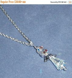Happy Graduation Sale NOW 925 Sterling Silver Angel Crystal AB Swarovski Crystal Pendant necklace 17 inches long