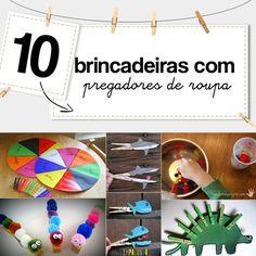 10 ideias para você fazer em casa brincadeiras com prendedor de roupa, uma material simples e barato que permite excelentes atividades criativas.