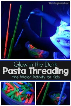 Glow in the dark pasta threading activity! A super simple yet fun fine motor activity for preschoolers and toddlers! Adds a new glowing twist to a classic kids activity! Sort and thread by color or make patterns! Fine Motor Activities For Kids, Sensory Activities Toddlers, Activities For 2 Year Olds, Motor Skills Activities, Infant Activities, Toddler Preschool, Preschool Science, Free Activities, Toddler Learning