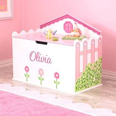 Personalized Hearts and Blooms Toy Box - Dibsies Personalization Station Personalised Toy Box, Personalized Baby Gifts, Popular Toys, Toy Organization, Little Girl Rooms, Toy Storage, Toy Boxes, Jouer, Old Toys