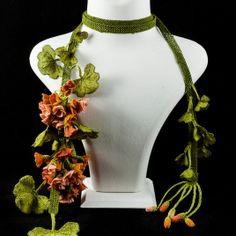"""""""Geranium Sun"""" silk lace necklace 295 Euros"""