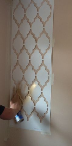 Gold geometric wall painted stencil