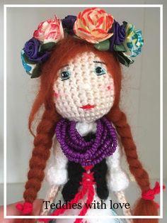 stokrotka: Ludowa dziewczyna ;) / Folk girl Crochet Toys, Folk, Vogue, Hats, Inspiration, Fashion, Love, Biblical Inspiration, Moda