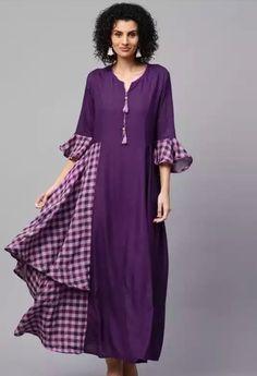cotton kurti with checks placement. Indian Fashion, Boho Fashion, Fashion Outfits, Cotton Kurtis Online, Fancy Kurti, Cotton Gowns, Kurti Designs Party Wear, Check Dress, Western Dresses
