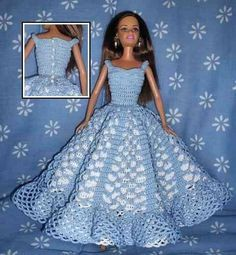 Crochet Barbie Patterns, Crochet Doll Dress, Barbie Clothes Patterns, Crochet Barbie Clothes, Doll Clothes Barbie, Crochet Doll Pattern, Dress Patterns, Barbie Doll, Barbie Wedding Dress