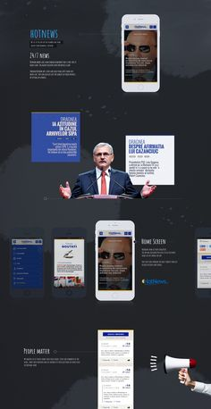 Hotnews works like a multimedia newspaper that is spot-on 24 hours a day. The agency delivers over 100 articles a day. Through Hotnews app, users can easily read latest news just with a tap. They can also get just the subjects of their interest, by setting up a profile.  Dan Buruiana: Art Director Portfolio Web Design, Read Later, The Agency, Art Director, Multimedia, Newspaper, Dan, It Works, Articles