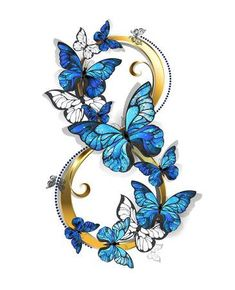 Illustration of figure eight of gold, decorated with realistic blue butterflies morpho on a white background. Design with blue butterflies morpho. vector art, clipart and stock vectors. Morpho Butterfly, Blue Morpho, Blue Butterfly, Butterfly Painting, Butterfly Wallpaper, Body Art Tattoos, Cool Tattoos, Infinity Tattoos, Infinity Symbol