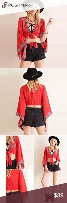 """Boho Chic Crop Tie Up Front Bell Sleeve Top ❤️ BUNDLES  ❤️ DISCOUNTS  ❌ NO TRADES  ❌ NO Low balling!   • NWT •   • Size: Small - Length: 13"""" Approx from Shoulder - Sleeve: 17.5"""" (shortest) 27"""" (longest) Approx • • Size:Medium - Length: 14"""" Approx from Shoulder - Sleeve: 17.5"""" (shortest) 28"""" (longest) Approx • • Size:Large - Length: 1.85"""" Approx from Shoulder - Sleeve: 17.75"""" (shortest) 28.75"""" (longest) Approx  * INSTAGRAM: @Styleidnet_Store Tops Crop Tops"""