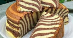 "Awesomely delicious manna on kefir ""Zebra""- Потрясающе вкусный манник на кефире «Зебра Zebra Cakes, Fruit Recipes, Baking Recipes, Dessert Recipes, Food Cakes, Marmer Cake, Baked Meatball Recipe, Pumpkin Cinnamon Rolls, Sponge Cake Recipes"