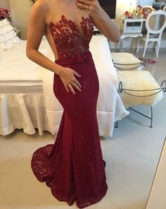 Burgundy Lace Applique Beading Mermaid Prom Dresses Sheer Tulle New Evening Gowns