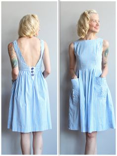 ~1950s Day Dress ~Striped ~Large square pockets ~Sleeveless ~Back button panel (dress goes on over head) ~Full skirt ~Blue and white  ❉