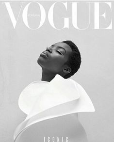 Vogue magazine cover design. Black and white. Fashion photography.
