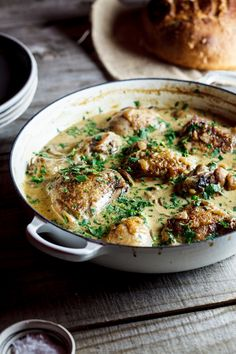 Coq au Riesling-Chicken with a white wine, bacon, and (wild) mushroom sauce