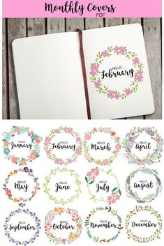 Monthly Covers for Bullet Journaling | Can't wait to use these to make my #bujo beautiful and easy #journaling #bulletjournal #monthlycover #monthlyspread #printable #instantdownload #downloadable
