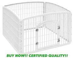 Plastic Exercise 4 Panel Pet Pen Dogs Cage Gate Fence White Double Steel Latch #IRIS