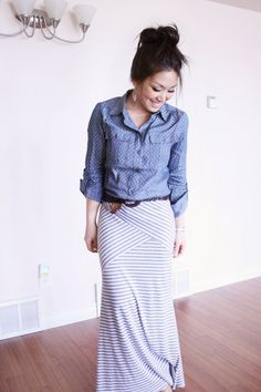 dot chambray and striped maxi skirt