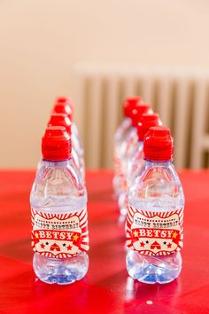Circus Water Bottles from a Greatest Showman Circus Birthday Party on Kara's Party Ideas | KarasPartyIdeas.com (12) Decoration Cirque, Circus Party Decorations, Circus Theme Party, Circus Wedding, Carnival Ideas, Carnival Costumes, Themed Birthday Cakes, Circus Birthday, Boy Birthday Parties