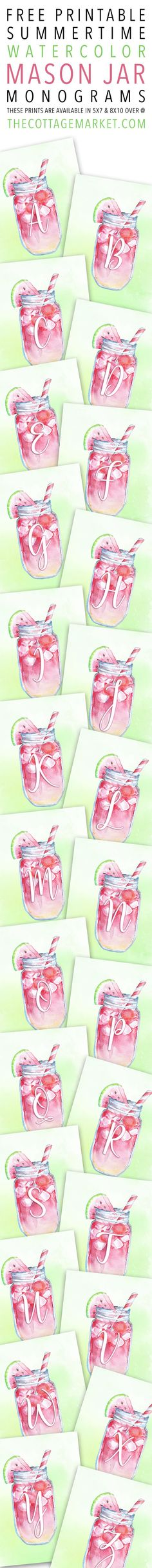 Free Printable Summertime Watercolor Mason Jar Monograms - The Cottage Market