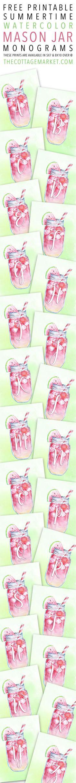 Free Printable Summertime Watercolor Mason Jar Monograms - The Cottage Market