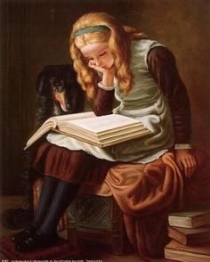 girl and dog, reading a book