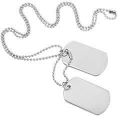 Silver 2 PCS Alloy Pendant Necklace Army Double Dog Tag (€8,87) ❤ liked on Polyvore featuring jewelry, pendants, pendants & necklaces, silver jewellery, dog tag pendant necklace, silver jewelry and dog tag jewelry