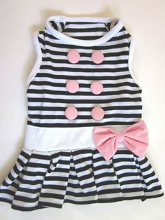 Stylish Cute Black AND White Stripe Small DOG Dress Cloth FOR Summer XS | eBay