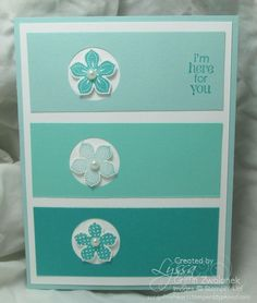 Lyssa created a cool blue ombre card using this color combo: Pool Party, Coastal Cabana, & Bermuda Bay. She used Petite Petals & its punch with the sentiment from Petite Pairs. All supplies from Stampin' Up!