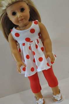 American Girl Doll Clothes Red Polka Dot Summer by CircleCSewing