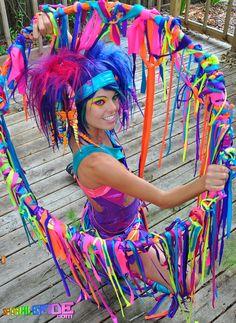 Neon Rainbow Fabric Hoop by SparkleFide on Etsy,