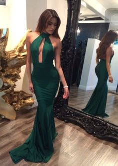 Sexy Dark Green Prom Dress,Halter Evening Dress,Mermaid Tight Party Dress,Fishtail prom dress,Sleeveless dress