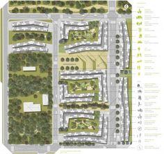 Implantação em Taboão da Serra. Concurso Habitação para Todos. CDHU. Edifícios de 6/7 pavimentos - 1º Lugar.Autores do projeto  [equip...