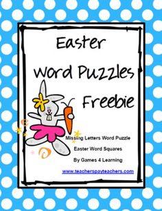 Easter Word Puzzles - Games 4 Learning - TeachersPayTeachers.com