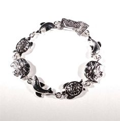 BEACH FASHION RHODIUM NAUTICAL DOLPHIN ANGELFISH SEA TURTLE SEA LIFE BRACELET #Unbranded