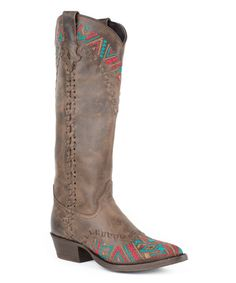 Brown Embroidered Leather Cowboy Boot by Stetson #zulily #zulilyfinds