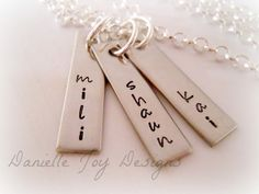 Mothers Grandmas Kids Names Hand Stamped Personalized Stainless Steel Necklace on Etsy, $31.00