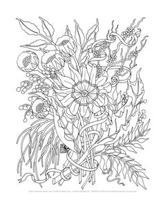Adult Coloring Pages -Floral Bouquets- Set of 8 via Etsy
