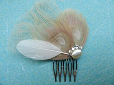 Ivory, pearl, and crystal hair comb.