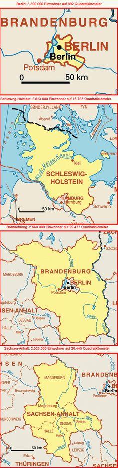 Karten der Bundesländer - geordnet nach der Einwohnerzahl