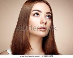 Beautiful woman face. Perfect makeup. Beauty fashion. Eyelashes. Cosmetic Eyeshadow - stock photo